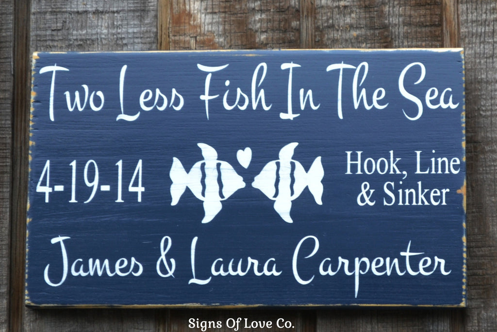 Personalized Beach Wedding Gift Beach Wedding Sign Lake Decor Ideas Two Less Fish Themed Sea Summer Sign Rustic Wood Mint Green, Aqua, Gray