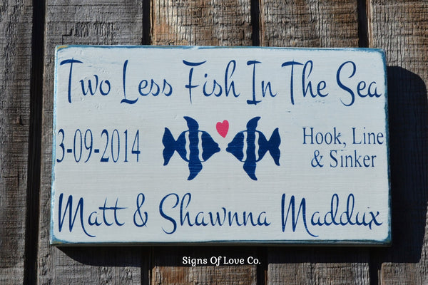 Two Less Fish In The Sea Personalized Beach Wedding Sign White Navy Blue