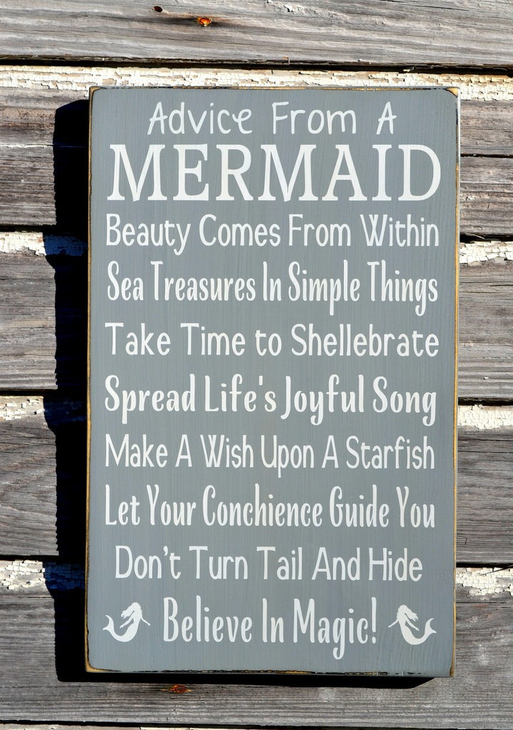 Beach Decor Original Advice From A Mermaid Sign Wood Beach Plaque Gray Teen Teenagers Gifts Mermaids Wall Art Hand Painted