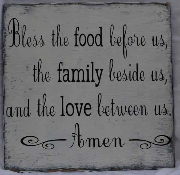 Bless the food before us -  Wood Dining Room Kitchen Blessing Sign Distressed Rustic Vintage Primitive Painted - The Sign Shoppe - 3