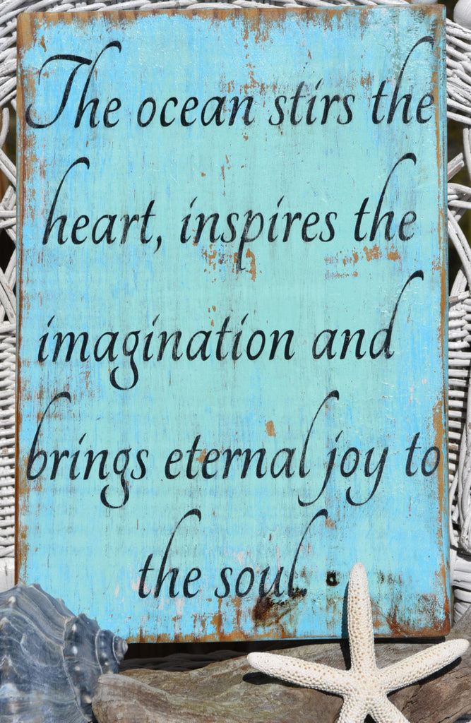 A Beach Decor Sign Wyland The Ocean Stirs The Heart - The Sign Shoppe - 1