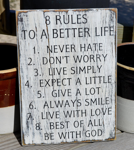 Family Home Decor Sign, 8 Rules To A Happy Life, 11x17, Wood Sign, Rustic, Great Room, Gift, Hand painted, Distressed, Inspirational - The Sign Shoppe - 2