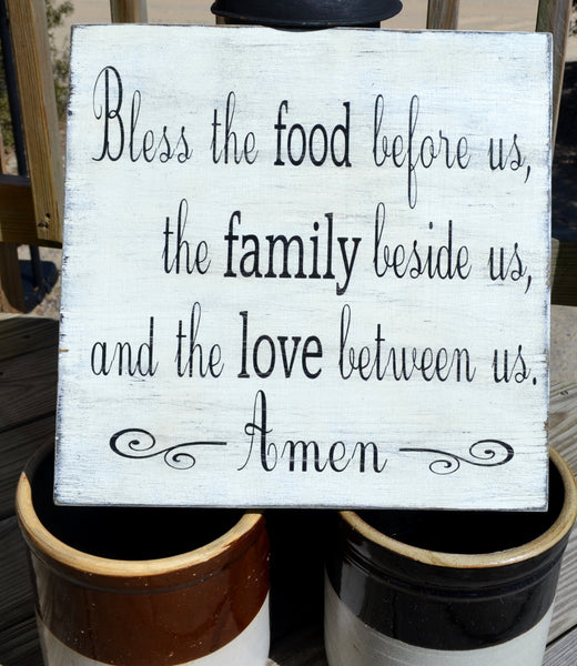 Bless the food before us -  Wood Dining Room Kitchen Blessing Sign Distressed Rustic Vintage Primitive Painted - The Sign Shoppe - 2