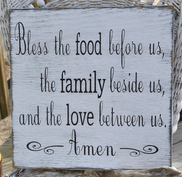 Bless the food before us -  Wood Dining Room Kitchen Blessing Sign Distressed Rustic Vintage Primitive Painted - The Sign Shoppe - 1