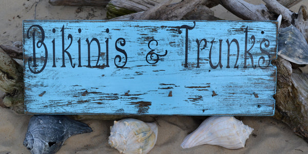 NEW Unique Beach Decor, Cute Hanger for Towels, Swimsuits, Indoor or Outdoor, Distressed, Vintage, Rustic Hand Painted (No Vinyl) Wood Sign - The Sign Shoppe - 2