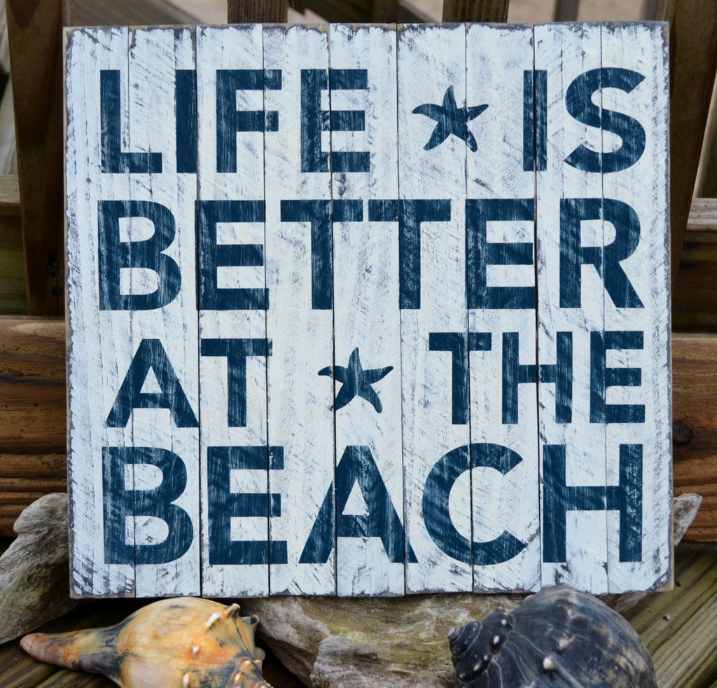 "Unique Beach Decor, Wood Sign From Assembled Pieces of Dune Fencing, ""Life Is Better At The Beach"" - The Sign Shoppe"
