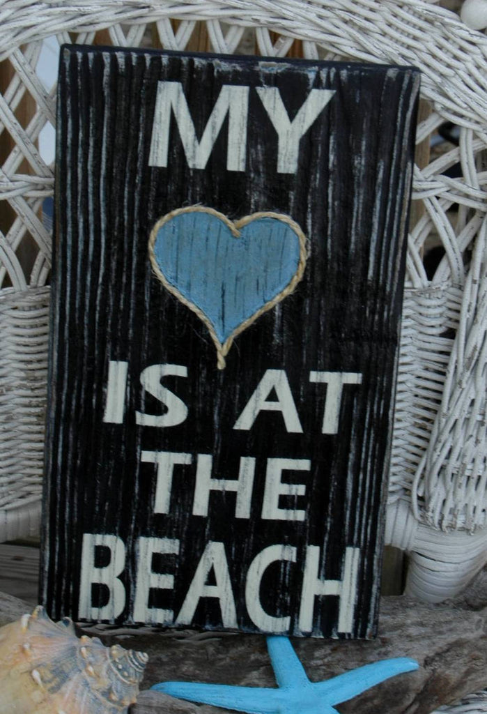 My Heart Is At The Beach, Wood Sign, Beach Decor, Coastal, Nautical, Hand Painted, Distressed, Typography - The Sign Shoppe