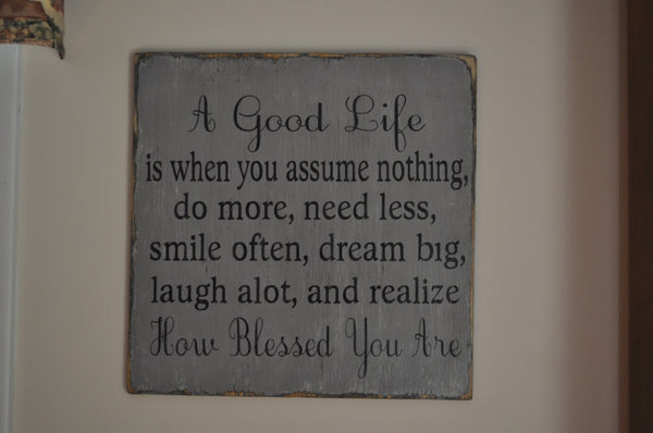 Family Signs, Living Room, Kitchen Decor Wall Art, A Good Life Handpainted Wood Sign, Distressed, Gift, Home Decor, Inspirational, Primitive, Rustic Ideal for Any Room in Home - The Sign Shoppe - 3