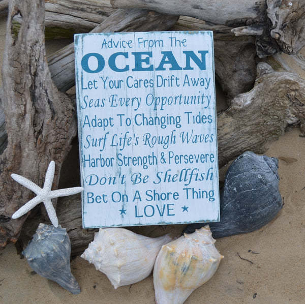 Advice From The Ocean, Beach Sign, Beach Wedding Decor Gift - The Sign Shoppe - 2