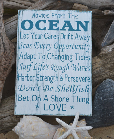 Advice From The Ocean Sign, Coastal Nautical Art, Beach Decor - The Sign Shoppe - 1