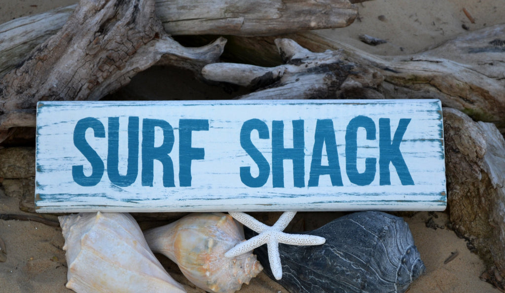 Ready To Ship SURF SHACK Beach Decor Wood Sign, Hand Painted, Coastal Decor, Nautical - The Sign Shoppe
