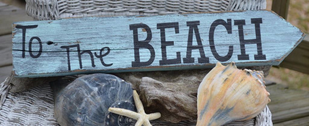 To The Beach, Drift Wood Painted Sign, Beach Decor, Arrow Sign, Hand Painted, Outdoor, Indoor, Beach Sign - The Sign Shoppe