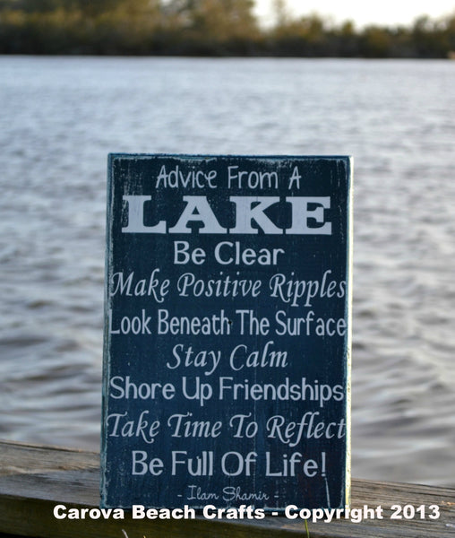Advice From A Lake, Lake House Decor, Lake Wood Sign, Rustic, Distressed, Weathered, Hand Painted Wooden Sign