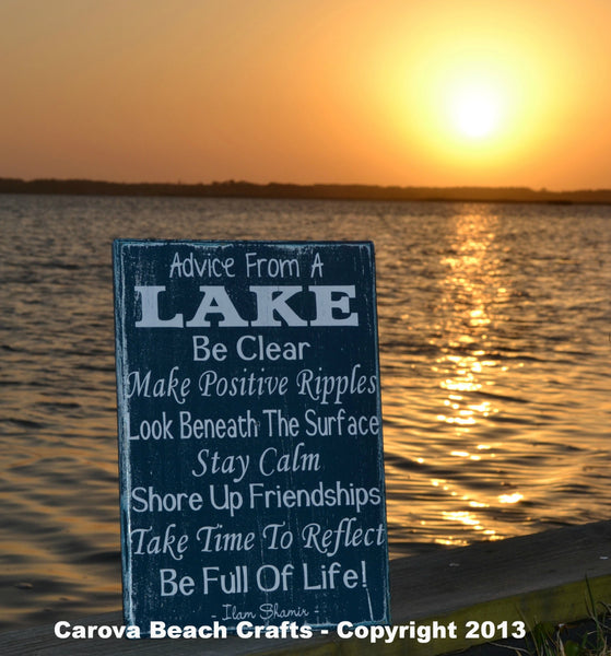 Lake House Decor - Lake Sign - Advice From A Lake - Wood Wall Home Decor - Ideal For Cottage Cabin Nature Lover, Rustic - The Sign Shoppe - 3