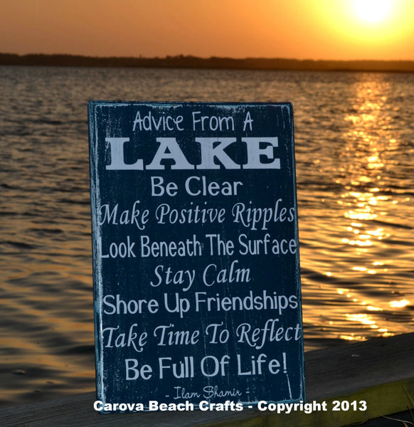 Lake House Decor - Lake Sign - Advice From A Lake - Wood Wall Home Decor - Ideal For Cottage Cabin Nature Lover, Rustic - The Sign Shoppe - 1