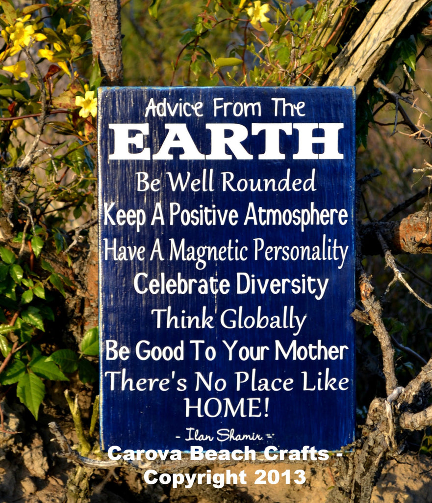 Cute Home Decor, Wall Hanger, Nature, Advice From The Earth, Hand Painted Wood Sign, No Vinyl, Reclaimed Wood - The Sign Shoppe - 1