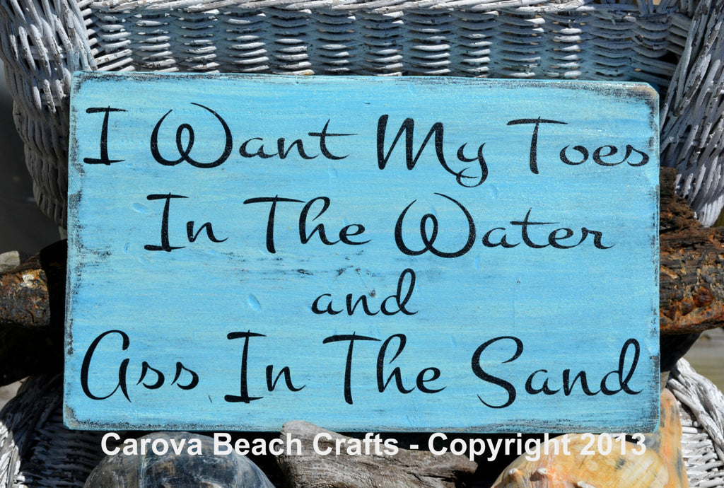 "Beach Decor - I Want My Toes In The Water Beach Sign - 18x12"" Coastal Nautical Plaque - The Sign Shoppe"