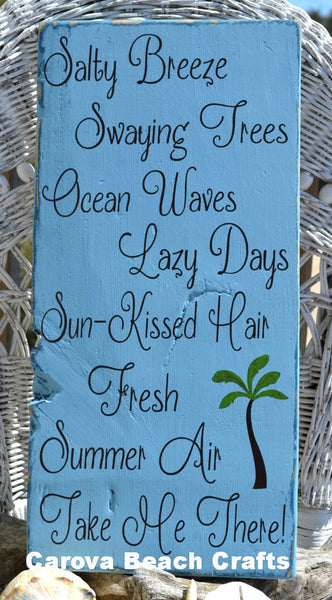 "Palm Tree, Salty Breeze, Swaying Trees, Beautiful Beach Decor Sign, Coastal, Nautical, 20"" x 9"" Hanging, Hand Painted Wood Sign - The Sign Shoppe - 1"