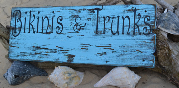 Bikinis & Trunks, Pool Decor, Hanging Rack, Pool Sign, Tiki, Beach, Coastal, Nautical, Rustic, Wood, Sign, Hand Painted, - The Sign Shoppe - 2