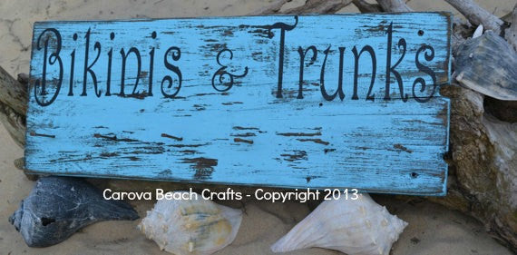 Bikinis & Trunks, Pool Decor, Hanging Rack, Pool Sign, Tiki, Beach, Coastal, Nautical, Rustic, Wood, Sign, Hand Painted, - The Sign Shoppe - 1