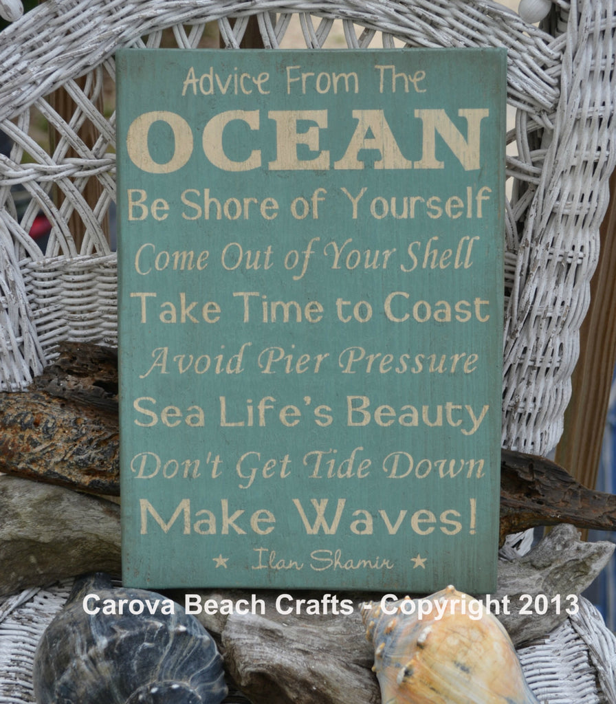 Beach Decor - Beach Sign - Advice From The Ocean - Wood Wall Hanging - Coastal - Nautical - Beach Theme - The Sign Shoppe