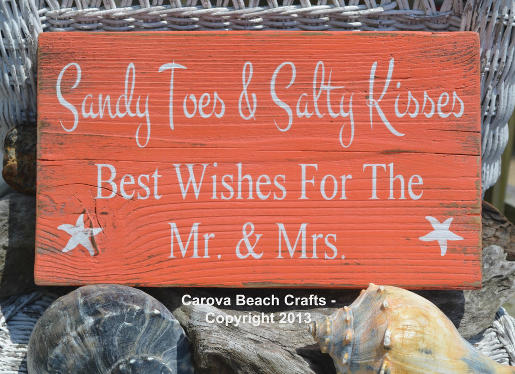 Sandy Toes Salty Kisses - Beach Wedding Sign - Guest Book - The Sign Shoppe