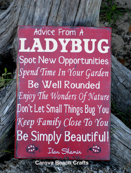 Home Decor - Kitchen Decor- Dining Room - Wood Sign - Advice From Ladybug - Antiqued, Distressed - Entryway, Family Room - Hand Painted - The Sign Shoppe - 2