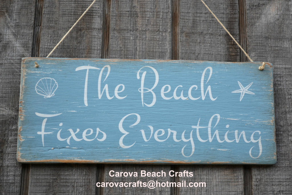 New Beach Decor - Beach Sign - Beach Fixes Everything - Coastal Decor - Beach Theme - Beach House - Rustic - Nautical - Wood Sign - Painted - The Sign Shoppe