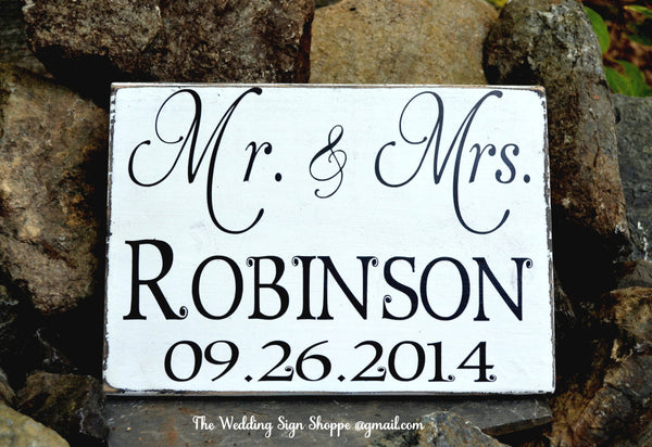 Mr and Mrs Wedding Wood Sign Personalized Last Name Wedding Gift Reception Decor Last Name Date Rustic Vintage Inspired Romantic Plaque