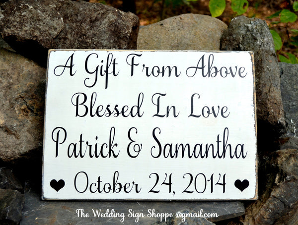 Wedding Decor Wedding Sign Personalized Gift  Anniversary Blessing Religious Gift From Above Christian God Blessed In Love Quote Rustic