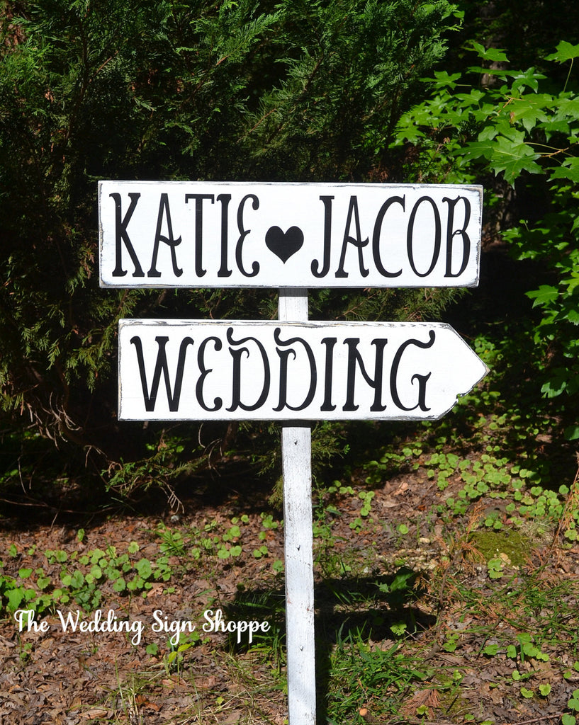 Large Directional Wedding Signs Rustic Wedding Signs Personalized Arrows Direction Outdoor Decor Wooden Stake Marker Names Wood Guest Stake