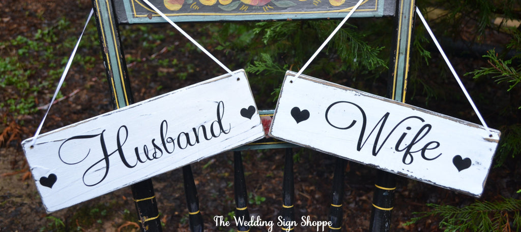 Wedding Sign Chair Hangers Wedding Decor Rustic Signs Husband Wife Bride Groom Mr Mrs Reception Photos Ideas Married Country Barn Beach
