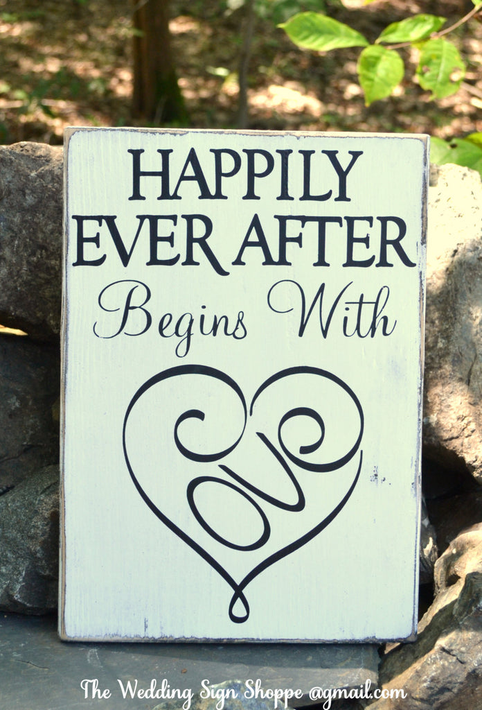 Wedding Sign Wedding Decor Ceremony Reception Engagement Bridal Gift Happily Ever After Begins With Love Shower Home Rustic Wooden Signs