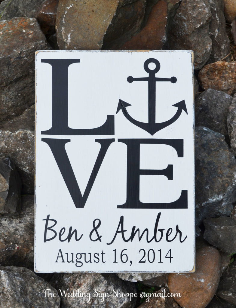 beach wedding sign personalized beach wedding gift nautical anchor anchors theme signs decorations love outdoor lake
