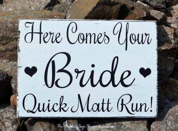 Wedding Decor Wedding Signs Rustic Here Comes The Your Bride Love Quick Run Flower Girl Ring Bearer Rustic Ceremony Decorations Photos Signs