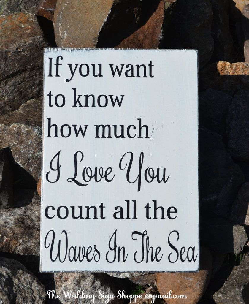 Rustic Beach Wedding Sign Nautical Nursery Decor Count The Waves In The Sea Sign New Baby Gift Idea Childrens Love Quote Theme Shower