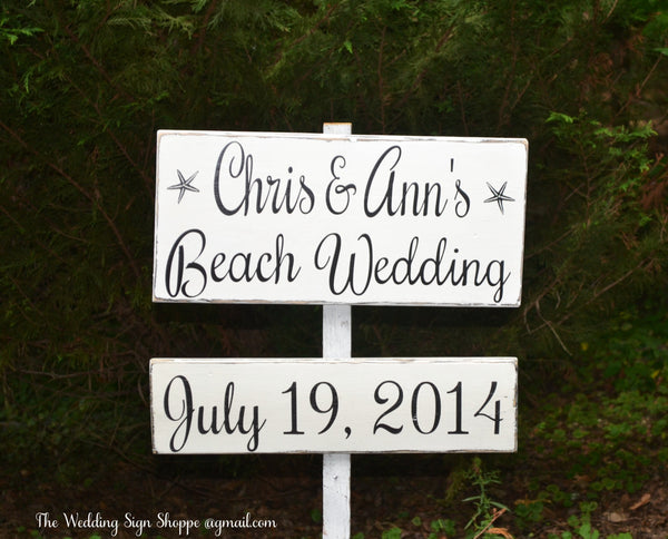 Beach Wedding Sign Large Welcome To Our Wedding Directional Rustic Personalized Arrow