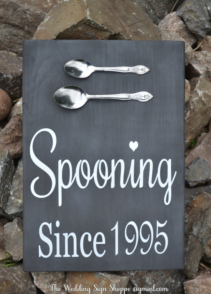 Rustic Wedding Sign Spooning Since Fall Wedding Decor Kitchen Wall Art Personalized Wedding Gift Kitchen Decor Wood Signage Anniversary Couples Shower Gift