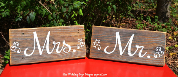 Rustic Wedding Sign STAND ALONE Reclaimed Wood Mr Mrs Signs Chair Hanger Wedding Decor Bride Groom Sweetheart Table Wooden Reception Country