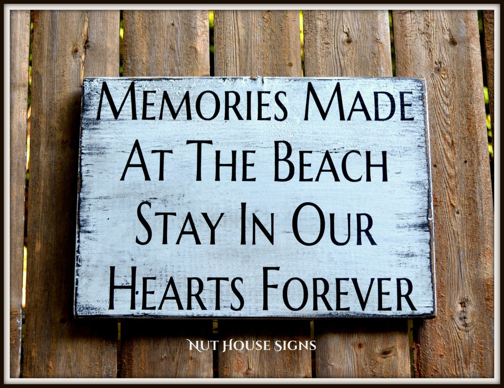 Beach Sign Unique Beach Decor Wall Art Rustic Distressed Reclaimed Signs Beach Lover Life Memories Quotes Sayings