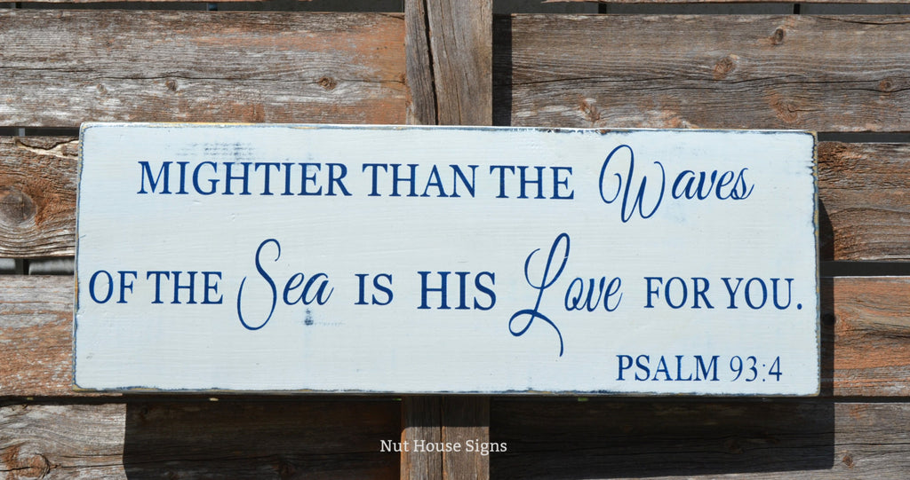 Beach Wood Baby Sign Nautical Nursery Decor Baby Gift Scripture Wall Art Rustic Verse Mightier Than Waves Psalm 934