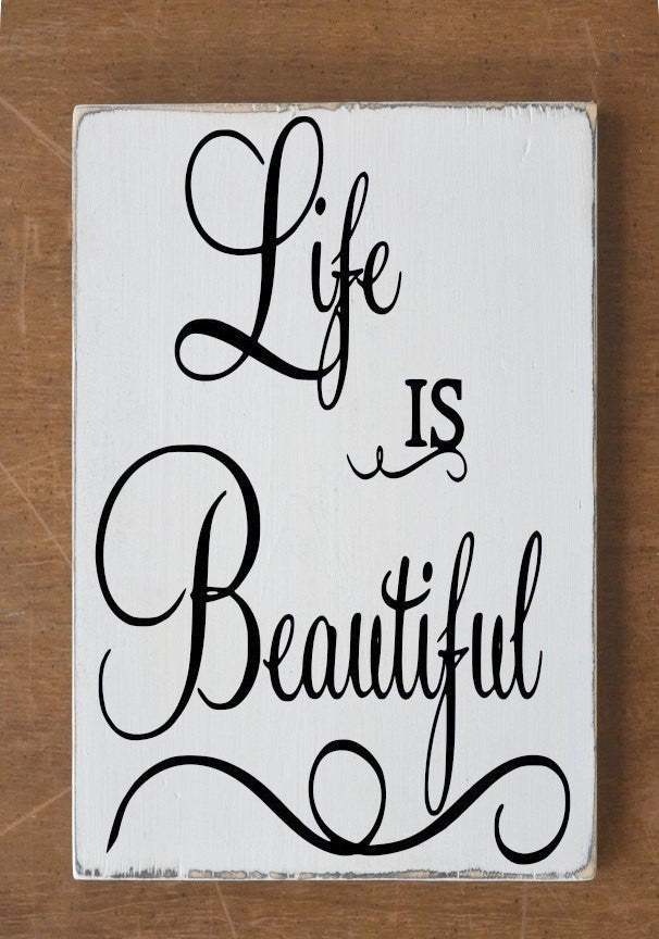 Life Is Beautiful Custom Wood Sign Hand Painted Plaque Wedding Christmas Gift Idea Family Rustic House Signs Positive Quote Wooden Wall Art - The Sign Shoppe