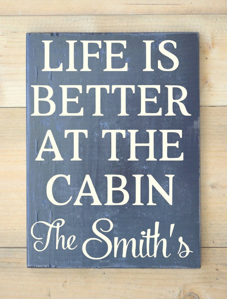 Cabin Sign Personalized Family Name Wooden Signs River Mountain Lake Lodge House Gifts Decor Home Custom Wood Sign Life is Better At Plaque - The Sign Shoppe - 1