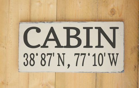 Cabin Cottage Sign Latitude Longitude Lake Home Decor Custom House Wooden Signs River Mountain Lodge House Gift Wall Art House Warming - The Sign Shoppe - 1