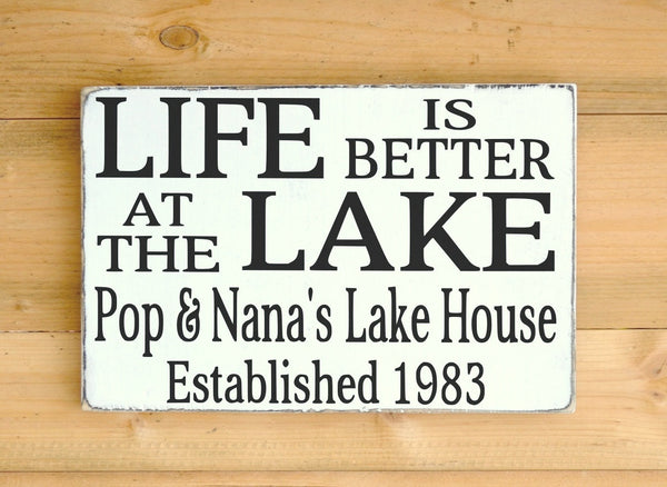 Personalized Lake Signs Lake House Decor Personalized Gift Life Is Better At The Lake Custom Family Name Wood Plaque Lakeside Living Welcome - The Sign Shoppe - 2