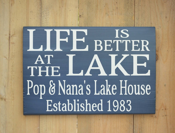 Personalized Lake Sign Lake Lover Gifts Lake House Decor Life Is Better At The Lake Wood Quote Family Name Plaque Established Date Cottage - The Sign Shoppe - 2