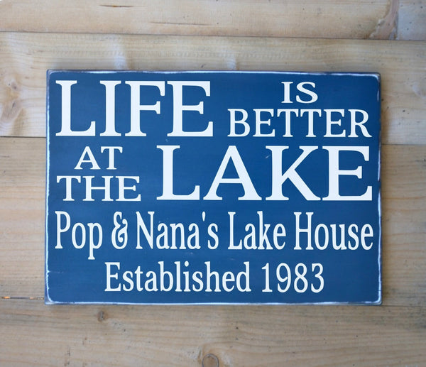 Personalized Lake Sign Lake Lover Gifts Lake House Decor Life Is Better At The Lake Wood Quote Family Name Plaque Established Date Cottage - The Sign Shoppe - 1