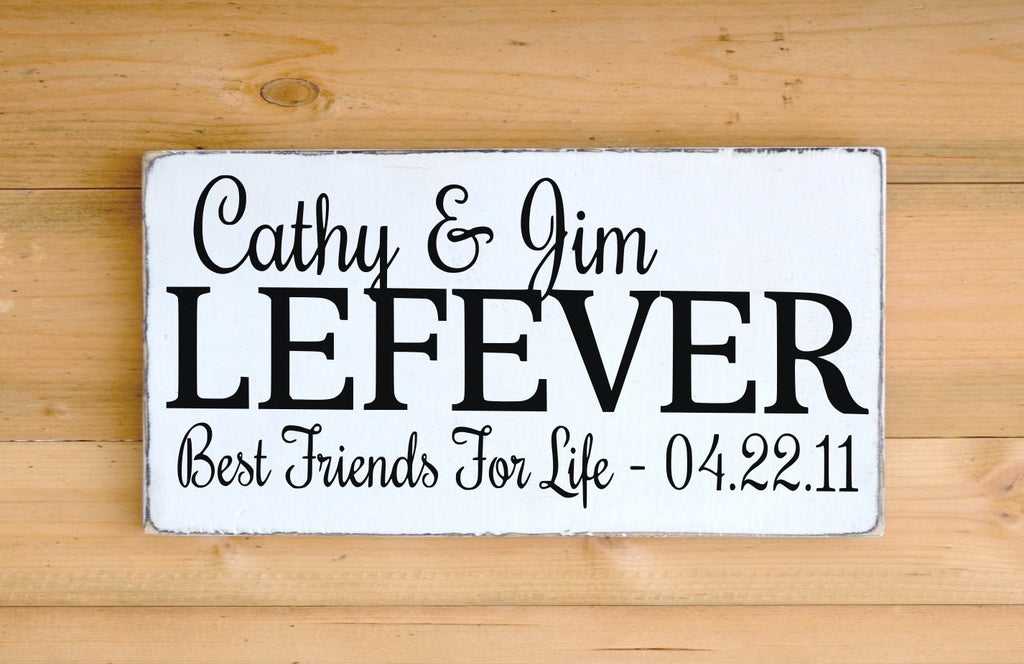 Personalized Wedding Sign Gift Wood Signs Bride Groom Last Names Best Friends For Life Husband Wife Anniversary Wedding Date Christmas Gift - The Sign Shoppe