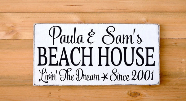 Personalized Beach House Sign Outdoor Family Last Name Date - The Sign Shoppe - 1