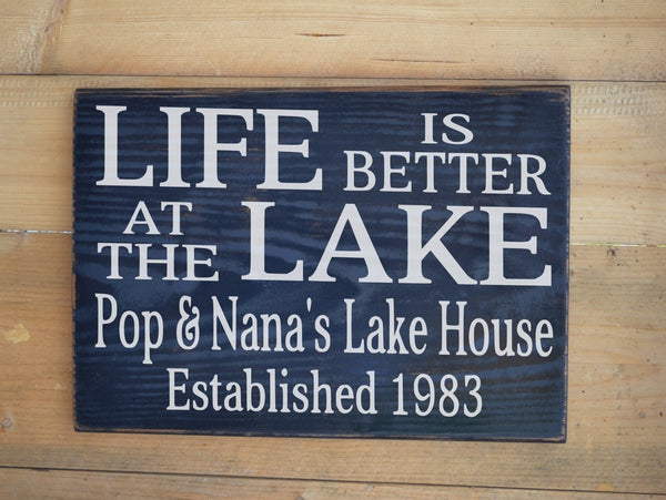 Personalized Lake Signs Lake House Decor Personalized Gift Life Is Better At The Lake Custom Family Name Wood Plaque Lakeside Living Welcome - The Sign Shoppe - 1